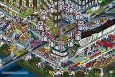 Formula 1 Singapore Grand Prix from Top Gear Where's Stig? Motorsport Madness. Isometric Pixel Art Illustration by Rod Hunt | Flickr - Photo Sharing!