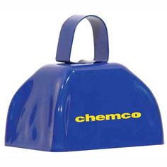 Custom logo or text on blue metal cowbells by OneWayPromos. Add your logo,message or text to cowbells and ring in your next promotion. great promotional products from OneWayPromos.