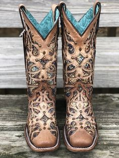 Cowboy boot outfits - Corral Women's Bone & Multi Color Inlay Square Toe Western Boots – Cowboy boot outfits Cowgirls, Rain Boots, Shoe Boots, Women's Shoes, Looks Country, Westerns, Over Boots, Wedding Boots, Cowboy Boots Women