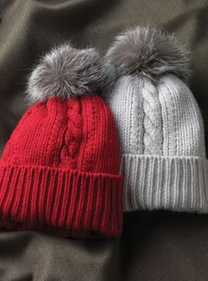 Ladies Cashmere and Fur Cable Knit Hats