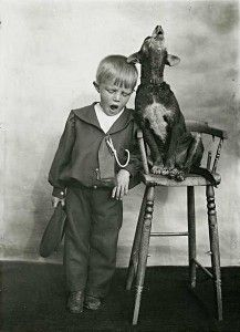 Vintage photo of dog and boy