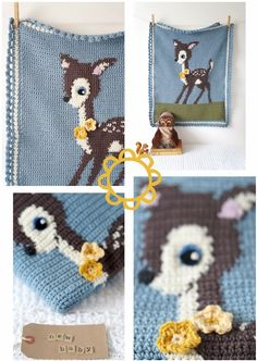 Hello Deer - Wonderfly cute baby blanket pattern by Amy at Little Doolally - pattern to buy on Etsy, Craftsy or Ravelry