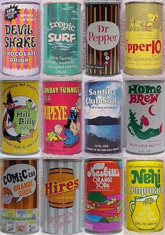 Soda cans produced between 1950s & 1970s | Tumblr