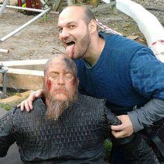 A Viking Extra licking the Ragnar doll on set of season 4.