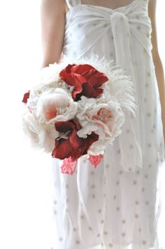 Red and white paper and fabric flower bouquet by AlternativeBlooms,