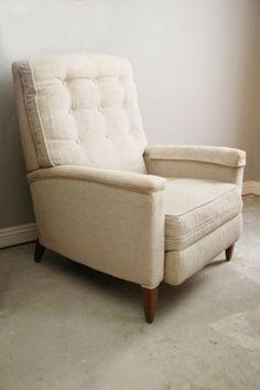 Mid-century Modern Recliner Chair, Bone