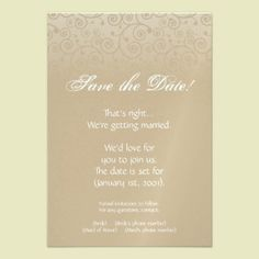 Gold and Champagne Swirls Save the Date invitations