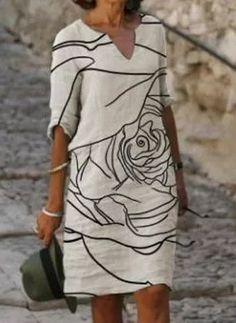 Shift Dresses, Day Dresses, Dresses Online, Casual Dresses, Midi Dresses, Linen Skirt, Linen Dresses, V Neck Dress, New Dress