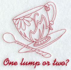 A redwork 'one lump or two?' Tea Cup machine embroidery design. - I just chose one of these redwork designs, but this pinterest site has many of them that could also be used for quilling designs: www.pinterest.com/marianneke47/redwork/