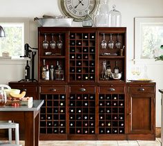 Modular Bar Cabinet with 1 Wine Hutch  2 Open Hutch #potterybarn @haley van liew Shackford mom needs this in their next home!