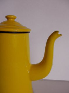 Vintage Yellow ENAMELWARE COFFEE POT Made in Poland