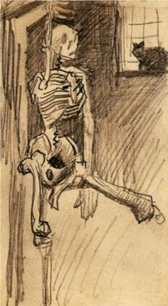 Skeleton in distress and a cat- Vincent van Gogh -during his very brief formal art education in Paris. #