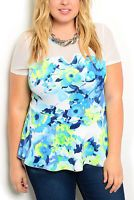 DHStyles Women's White Blue Plus Size Trendy Sheer Fitted Paneled Mesh V Neck Abstract Print Peplum Top - 3X Plus