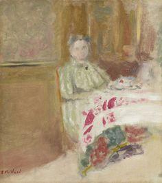 thunderstruck9: Édouard Vuillard (French, 1868-1940), Mme Vuillard à la table, c.1900. Oil on canvas, 31.2 x 27.5 cm.