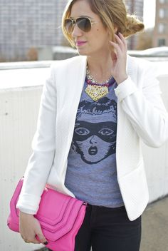 Graphic Tee, White Blazer, Pink Accessories