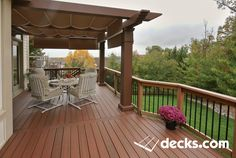 We are at the highest location of Ellicott City and have a beautiful sunset view. A fiberglass pergola is installed in front of the patio door to protect from the summer sun Second Story Deck, Patio Deck Designs, Patio Design, Balcony Railing Design, Deck With Pergola, Pergola Cover, Covered Pergola, Pergola Ideas, Porch Ideas