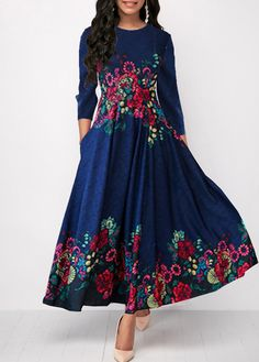 da65ffd906 Style : Elegant Pattern Type : Print Neckline : Round neck Sleeve's Length  : Three Quarter Sleeve Silhouette : High waist Color Scheme : Blue Material  : 95% ...