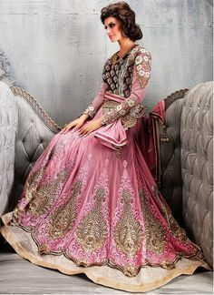 Glorious Hot Pink Embroidered Patch Work Floor Length Designer Suit
