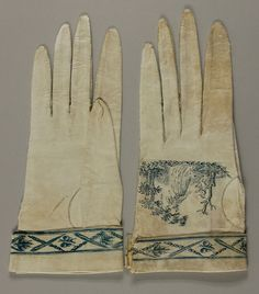Philadelphia Museum of Art - Collections Object : Woman's Gloves c. 1795  Medium: White kid leather stitched in fine pale blue silk thread, printed from an engraved plate with medium blue ink