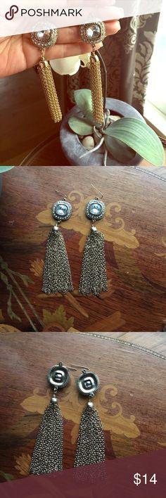 Earrings Bling bling tassel earrings. These are not light material cheap earrings.  ⭐️Like new⭐️ Jewelry Earrings