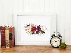 Spring Floral Printable Burgundy Flowers Burgundy Nursery Decor Burgundy and Blush Floral Bouquet Bohemian Floral Wall Art Pink Flowers 243 by MossAndTwigPrints on Etsy
