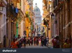 HAVANA, CUBA, FEBRUARY 15, 2013 : Old streets of Havana with a view of the Capitol