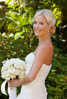Smiling bride in birdcage veil by Panache Bridal in Beverly Hills (Melissa Musgrove Photography)