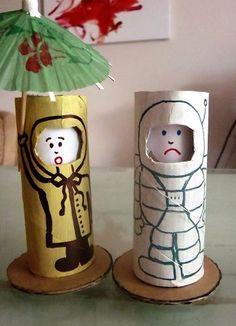 куклы с меняющимися выражениями лиц из рулончиков от туалетной бумаги