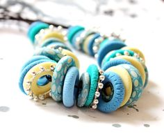 Necklace from blue and yellow Fimo. Free shipping. $30.00, via Etsyб http://www.etsy.com/treasury/MjAwNDY2NzZ8MjcyMjg4OTEwNA/sea-breeze