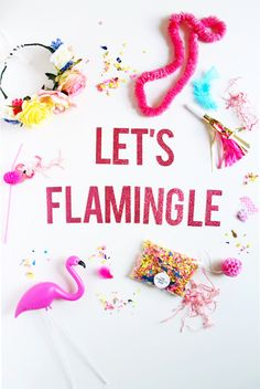 LET's FLAMINGLE Pink Glitter Letter Banner by theBannerie on Etsy. This is the inspiration for a bridal shower I am throwing in May! Pink Flamingo Party, Flamingo Birthday, Flamingo Pool, Glitter Party, Pink Glitter, Glitter Letters, Tropical Party, Decoration Table, Trends