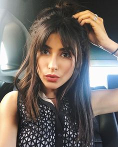 "15.8k Likes, 157 Comments - SAZAN HENDRIX (@sazanhendrix) on Instagram: ""Bang check! K we're good.. Heading to a dinner event with my half up messy top knot. #bangs…"""