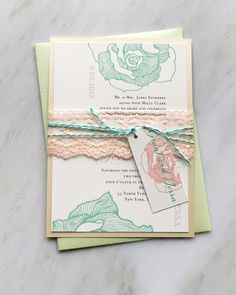 Ruffled Romance Mint - Peach Lace Wedding Invitation, Lilac, Mint Green Baker Twine - Purchase for a Sample. $6.75, via Etsy.