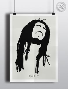 Bob Marley Minimalist Hair Silhouette Poster by Posteritty