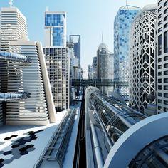 长安月 — Street view of Chinese city in the future