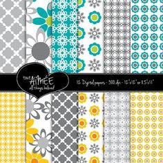 12 Digital Scrapbook Papers  Graphic Flowers & by ToutAimee, $6.00