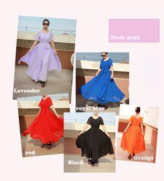 Orange short sleeve maxi dress long chiffon dress by DressOriginal