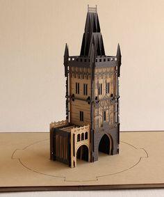 3D card, skyline city, architectural model, paper mark, Prague Gunpowder Tower. Prague 3D souvenir card. Czech republic.