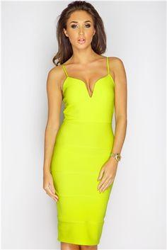 #Misspap #dress Megan McKenna Lime Bandage Midi Dress at #MissPap