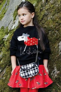Next Black Dog Sweater & skirt - girls Christmas outfit