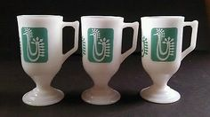 Federal-Turquoise-Rooster-Chicken-Pedestal-Mugs-Coffee-SET-Of-3-excellent