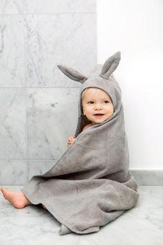 Hooded baby towel Elodie Details Marble Grey