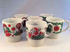 6 VTG Christmas Coffee Mugs Stacking Japan Cups Red Green Santa Angel Stackable