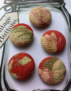 Vintage set of 5 1980s Handmade Fabric by bonkersaboutbuttons, £3.00