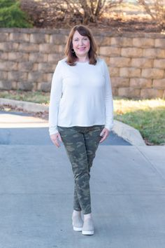 Camo Pants 3 Ways - Outfit - Dressed In Faith Camo Patterns, Clothing Patterns, Black Like Me, Camo Jeans, Fashion For Women Over 40, White Sweaters, White Tees, My Wardrobe, Normcore