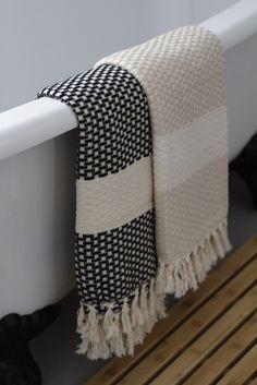 Belgin - Turkish hammam towel, peshtemal bath collection in Black and Taupe - Luks linen