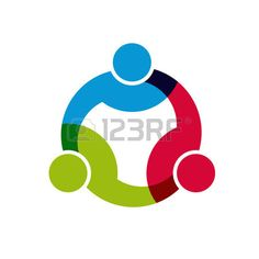 Social Network, Group of 3 people business men.