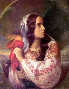 The Romanian Blouse: Revolutionary Romania (portrait of Maria Rosetti) by Constantin Daniel Rosenthal 1848 Romanian Flag, Romanian Girls, Romania People, National Symbols, Art Database, Art History, Art Gallery, Fine Art, Artwork