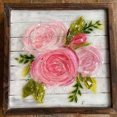 Broken Glass Art, Sea Glass Art, Glass Wall Art, Resin Crafts, Resin Art, Flower Art, Art Flowers, Glass Fusing Projects, Crushed Glass