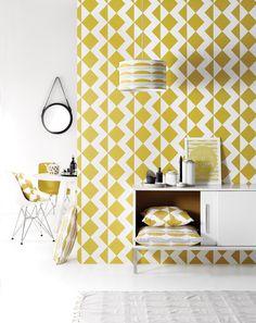 Behang Zigzag Mustard - Behangpapier - Muur