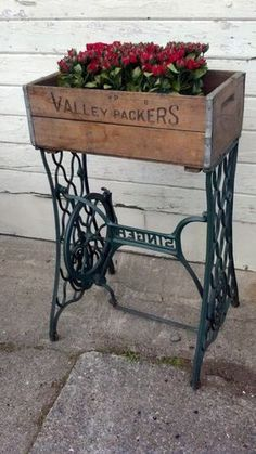Storage Table With Vintage Treadle Sewing Machine Base and Vintage Crate Top